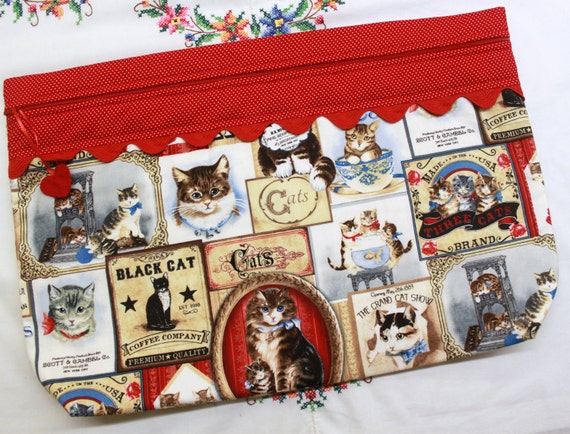 LOTS2LUV The Grand Cat Show Cross Stitch Embroidery Project Bag