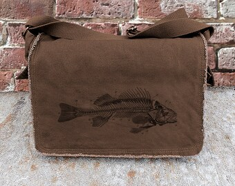 Cotton Canvas Messenger Bag - Fish Skeleton - Screen Printed Messenger Bag