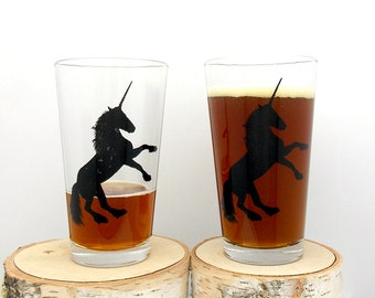 Unicorn Beer Glasses - Set of two 16oz. Pint Glasses - Screen Printed Pint Glasses