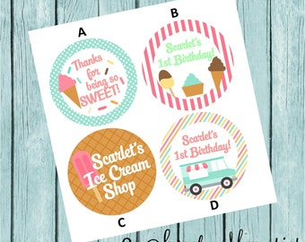 Ice Cream Shop Favor Tags/Stickers- Printed and Shipped to you!