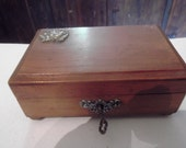 RESERVED for Betina, antique wood and silver JEWELLERY BOX with key Portuguese vintage
