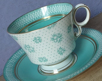Vintage 1920's English China teacup and saucer, Paladin tea cup, Turquoise tea cup, Art deco tea cup, Antique teacup, English tea cup