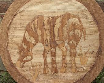 Vintage Animal Art, Zebra wall hanging, Wood art, Veneer, Africa Zoo decor, Game room decor, Wood wall hanging, Handmade zebra art