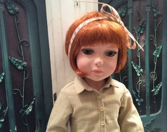 Custom Couture 18 Inch Doll Clothing-RESERVED Trendy Cotton Shirt, Faux Leather Pants, and Plaid Hair Ribbon