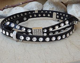 Swarovski Studded Belt, Skinny Leather Belt, Crystal Swarovski Belt, Black Leather Belt, Women's Thin Leather Belt, Narrow Leather Belt