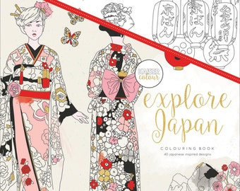 Adult Coloring Book - Explore Japan - 40 Japanese Themed Designs - KaiserColour Perfect Bound Coloring Book (527712)