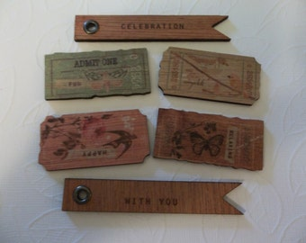 Wood Tag Embellishments - Butterfly Meadow Wood Tickets - Flag Banners - Text Celebration With You & Bird, Butterfliy Images - Qty 6 pieces