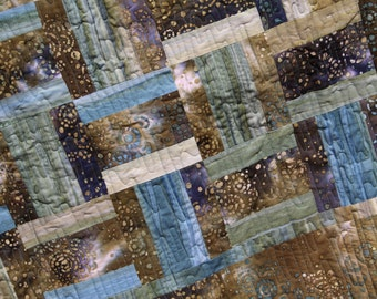 LAP QUILT. Flowing Waters Daybed Quilt. Twin Quilt. Big & Tall Quilt.  Batik lap quilt.  Hand dye lap quilt. Father's Day LAP quilt.