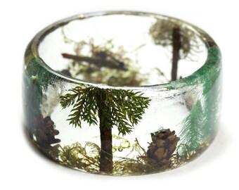 Forest Bracelet -Real Flower Jewelry-  Forest Jewelry - moss jewelry  Flower Jewelry- Resin Jewelry- Flower Bangle- Green Resin Bracelet