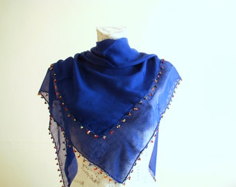 Summer scarf square cotton scarf cotton bandana head scarf blue scarf pareo wrap beach pareo cotton pareo wooden bead crochet edge spring