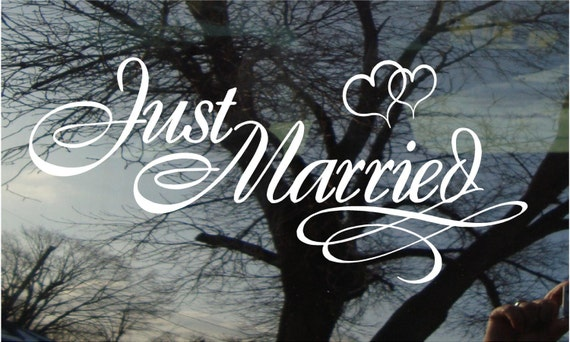 Vinyl Car Window Decal - Just Married with Locked Hearts - 10 x 22....wedding decal wall decal