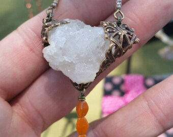 ORANGE Heart Lock VINTAGE Style Necklace by AfterWork