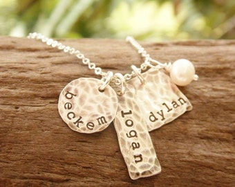 Mother Necklace Three Kids Stamped Sterling Silver Distressed Tags