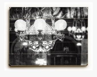 Wood Sign: Black and White Chandelier Wood Plank, French Decor, Pennsylvania Art, Elegant Dining Room Decor, Entry Way Decor.