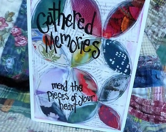 GATHERED MEMORIES Quilters Card, Art Card, Sympathy Card, Orange Peel Quilt, Patchwork Card, Greeting Card by  Seattle Artist Mary Klump