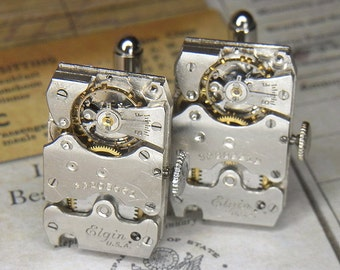 STEAMPUNK Cufflinks Cuff Links - Torch SOLDERED - Vintage 1931 & 1932 ELGIN Rectangular Watch Movements w Crowns - Wedding Anniversary Gift