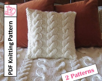 Cable knitting pattern, knit pattern pdf, Super Chunky Cable throw and pillow cover, 2 PDF knitting patterns