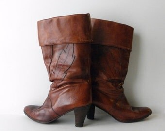 ON SALE Vintage Italian Boots, Brown Leather Boots with Cuff, Tawny Boots with Heel