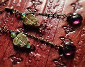 Earrings, Leaf, Green, Forest, Fairytail,Burgandy