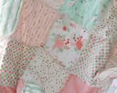 Crib Rag Quilt Baby Girl Crib Bedding Shabby Chic Nursery Gold Mint Peach Nursery