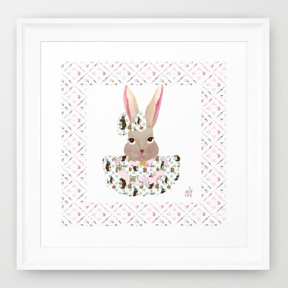 Giclée print, Shabby Chic Bunny