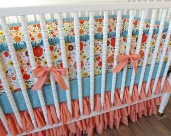 READY TO SHIP-- Girl Bedding- 3 piece Custom Bedding Set- Peach and Blue