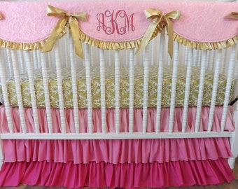 Girl Crib Bedding- Pink and Gold Baby Bedding- MADE to ORDER-Pink and Gold- BUMPERLESS Crib Bedding- Baby Bedding-