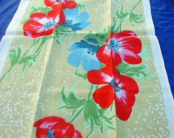 Vintage Mid Century Modern Kitchen Towel Printed Linen Poppies Red Green