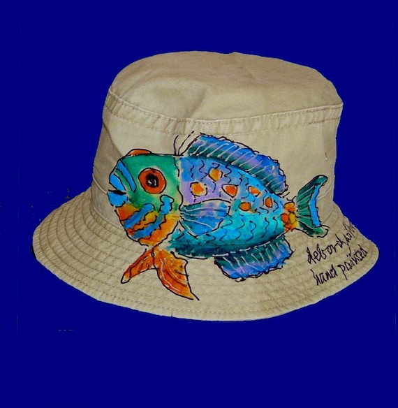 Tropical fish bucket hat handpainted for adults and kids for Youth fishing hats