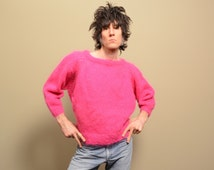 vintage 80s crop sweater hot pink jumper mohair fuzzy new wave 1980 Astra Marine Ltd hand made England 3/4 puff sleeve boxy cut M L
