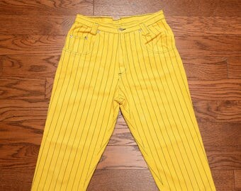 vintage striped jeans 80s 90s baggy taper jeans high waist mom jean yellow denim black stripe 1980 1990 Venom Impact hip hop