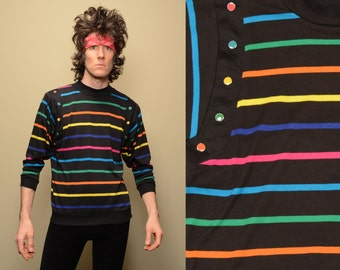vintage 90s rainbow stripe shirt long sleeve pullover Peter Popovitch 1990 long sleeve top medium large M L