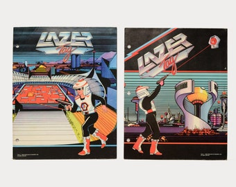 vintage 80s Lazer Tag trapper keeper folder binder folder set 1980 1986 World of Wonder file folder Laser Tag set of 2