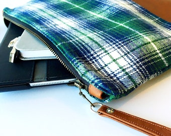 Case - Green, Blue and White Plaid and Brown Faux Leather Case - iPad / Tablet / Nook / Kindle / eReader / Pencil / Makeup Case