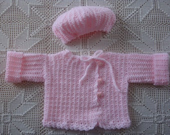 0 - 3 month Crochet Pink Sweater and Tam hat Set with duckie Buttons