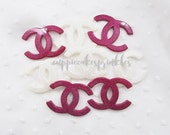 4pcs - Fancy XL White and Fuchsia Glittery Logo Mix Decoden Cabochon (49x35mm) CH10029
