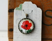 """Red Poppy Vintage Inspired Brass and Glass Bubble Necklace (#58) - """"Rozie Series"""""""
