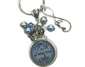 """PERSONALIZED  Blue Background """"Be Proud Of Who You Are"""" Bezel With Glass Dome Keychain With Matching Beads, Heart And Love Infinity Charms"""