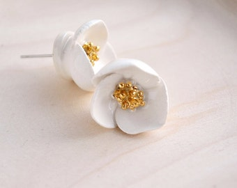 Rose-hip stud earrings - hand-sculpted ceramic flower earrings - ceramic jewelry