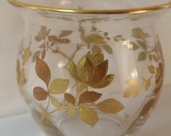 Gilded Gold Floral Vintage Small Glass Vase