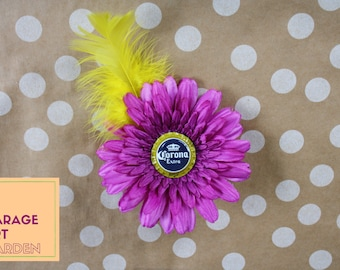 Corona Extra Purple Flower Rockabilly Hair Clip Yellow Feather