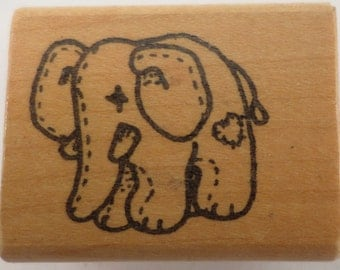 Imagine That C-482 Stuffed And Stitched Elephant Plush Wooden Rubber Stamp