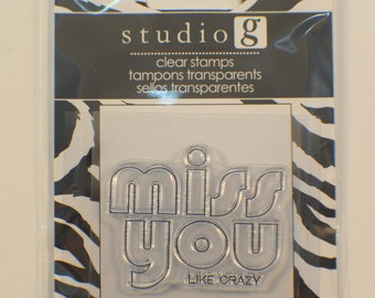 Studio G Miss You Like Crazy Cling Clear Rubber Stamp