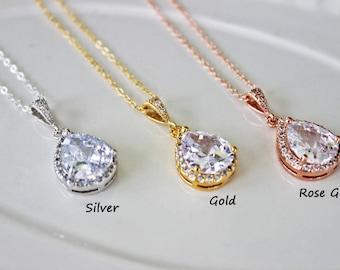 Cubic Zirconia Bridal Necklace, Rhinestone Tear drop Wedding Necklace, Crystal Drop Bridal Pendant, Wedding Pendant
