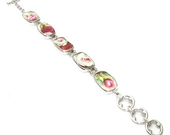 Broken China Jewelry Royal Albert Celebration Roses Sterling Bracelet