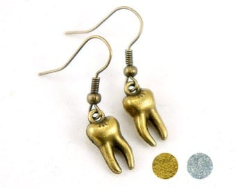 Tiny Tooth - Antiqued Brass or Antiqued Silver Vintage Style Teeth Dangle Earrings - CP021/CP110