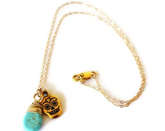 Sugar Skull Necklace-Gold-Skull Necklace-Day of the Dead Jewelry