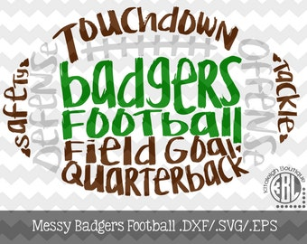 Messy Badgers Football design INSTANT DOWNLOAD in dxf/svg/eps for use with programs such as Silhouette Studio and Cricut Design Space