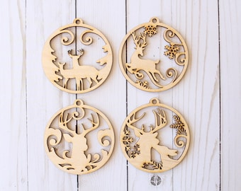 Stag Ornament Buck and Doe Ornament Reindeer Ornament Country Christmas Ornament Collection
