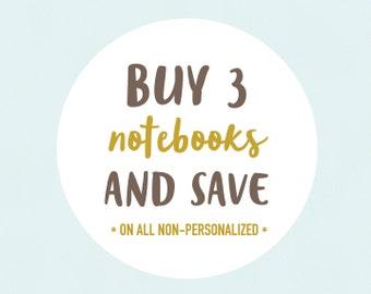Stocking Stuffer Notebooks - CHOOSE 3 Handmade Journal & Pencil Sets - Mini Medium or Fauxdori Midori Travelers Notebook Inserts, 80 Pages